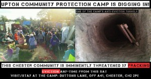 Upton Community Protection Camp poster showing tunnels